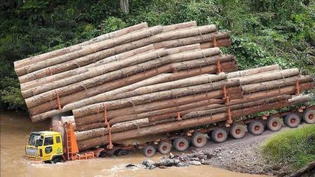 大型卡车山路运输木材, 开的想吐, 还好是老司机!