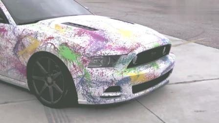 艺术家在汽车上, 洒上不同的颜色后, 汽车的外观太美了!