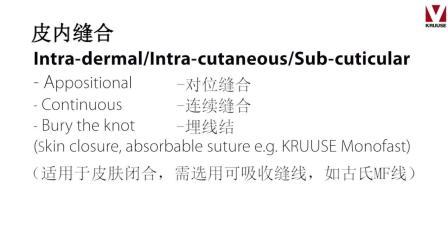 Suture techniques Intra-dermalIntra-字幕-丹麦古氏缝线系列-缝合技巧-皮内缝合