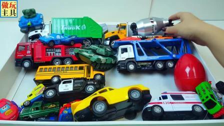 水泥罐车救护车和越野车玩具