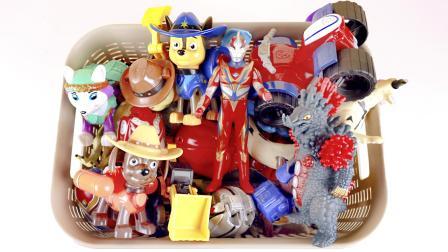 汪汪队立大功挖掘机奥特曼变形蛋玩具盒子