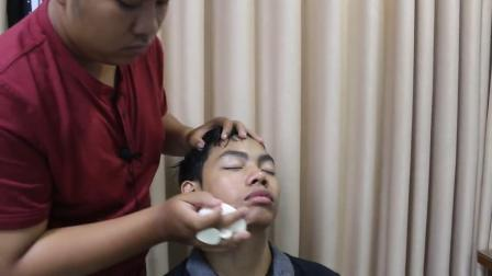 小伙体验头部spa, 2分钟脸部按摩, 看着舒服极了
