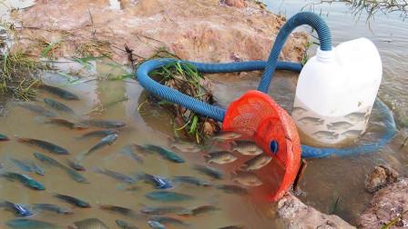 智能男孩用长管塑料瓶制成独特的捕鱼系统, 每天的收获都不少