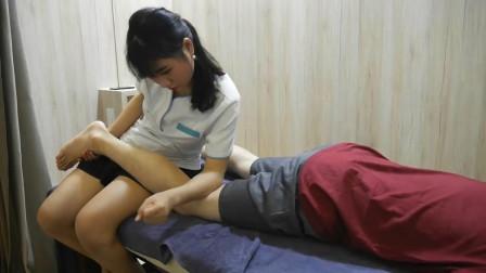 小伙体验越南腿部按摩, 缓解压力, 手法专业小哥感到很舒适