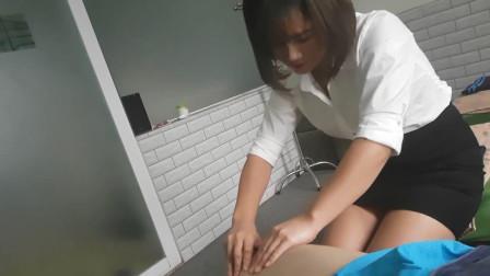 小伙体验越南专业按摩, 放松肌肉, 十分减压