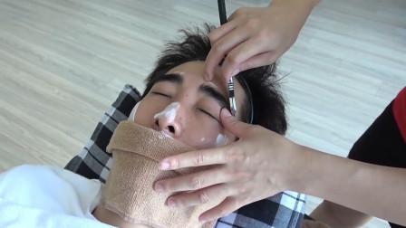 越南美女刮脸服务, 手法很熟练, 小哥刮完像变了一个人