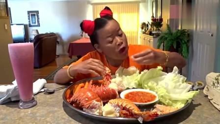 泰国吃播: 哪吒姐龙虾当主食吃, 这哪是哪吒, 听说话就是孙猴子