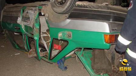 河北沧州 可怕车祸! 车辆在快车道直接被撞翻到非机动车道