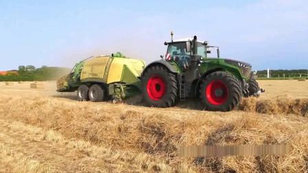 机械化自动干草打包机, 这打包速度太快了, 既省人力又省物力