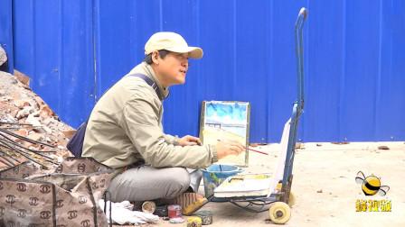 """湖北荆州  街头""""画癫 """"席地作画为艺痴狂 退休工资全奉献给了艺术"""