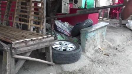 感觉回到了九几年, 菲律宾纯手工火补轿车轮胎