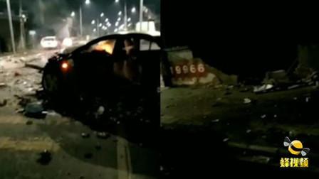 湖北宜昌一司机疑超速驾车 失控撞围墙致车毁人亡