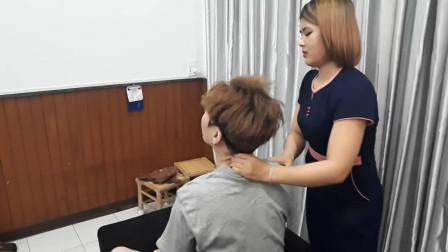 越南专业颈部肌肉拉伸, 充分缓解压力, 非常舒服