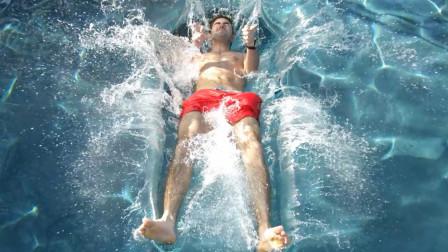 在10万倍慢镜头下观察 人掉入泳池时的细节