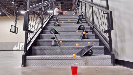 看完让人很爽的联动装置 大神是怎么把乒乓球玩出花的