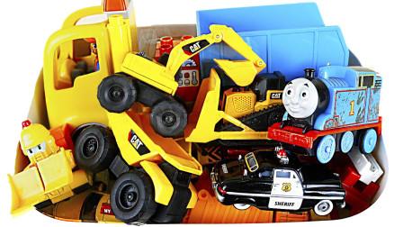 托马斯小火车挖掘机卡车汽车玩具盒子