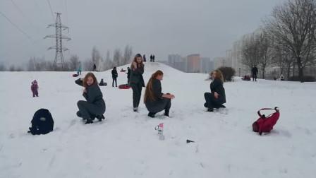 俄罗斯美女翻跳EXID《ILOVEYOU》, 冰天雪地的真不怕冷!