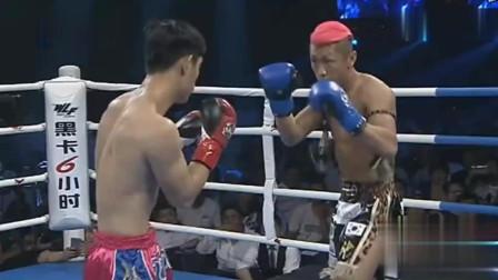 红发日本拳手穿着花哨来华嘚瑟遭中国小伙大力飞膝KO挺尸台上