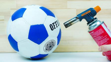 足球遇上800℃气枪能坚持几秒  考虑过足球的感受么