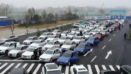 湖北襄阳: 年轻车主马路上扎堆嗮宝马 车队极其壮观