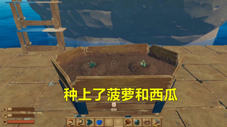 木筏求生6: 找到一座神奇的小岛, 物产丰富, 还让我吃上了水果