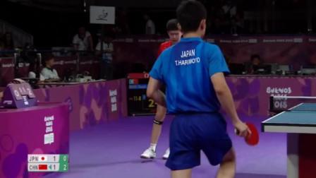 霸气! 王楚钦打张本智和10-0后, 发球自杀秀演技!