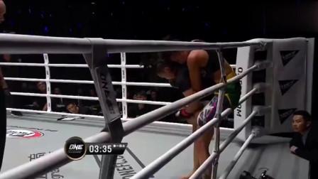 巴西女将来华挑战誓夺金腰带, 中国熊竞楠一拳击倒打抽搐爬不起来
