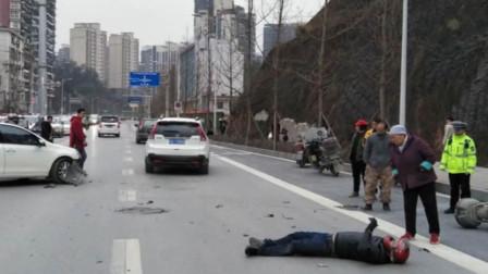 湖北恩施 男子驾车遇车祸 安全头盔救他一命