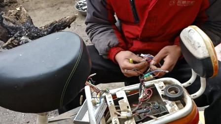农村小张自己第一次;换电动车控制器,结果正负极连线悲剧了