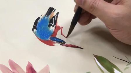中国花鸟画视频之写意莲花翠鸟图轴