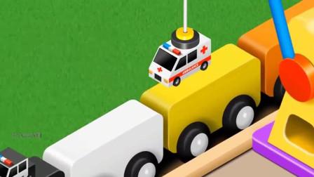 大力说动画:汽车工程车学颜色学英语动画  第五十八集