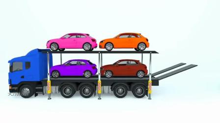 大力说动画:汽车工程车学英语学颜色动画卡通片 第八十一集