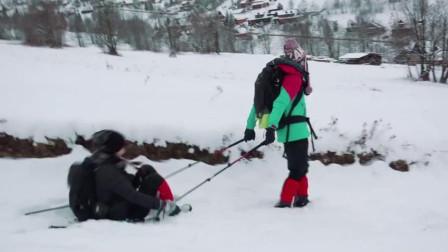 宣仪拉美岐滑雪坡,两人一起跌个大跟头