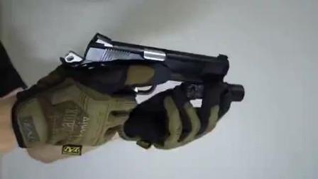 气动版KP-05手枪,BB弹供弹射击测试及细节展示!