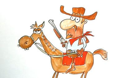 教大家画一个骑马的西部牛仔卡通简笔画