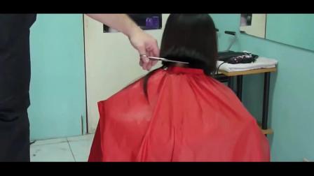 女子剪bob发型,剪短后再剃光后脑勺,瞬间变村姑