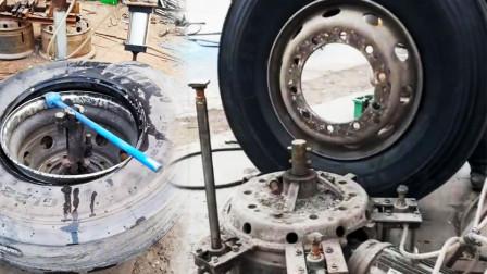 这个补胎的汽修师傅太有才了,自制的卸轮胎工具,效果一样杠杠的!