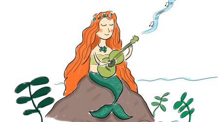 如何画一个弹奏音乐的美人鱼卡通简笔画