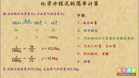 初中化学九年级下册 化学方程式的简单计算