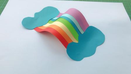 创意手工:简单又漂亮的彩虹粘贴画,玩出新花样