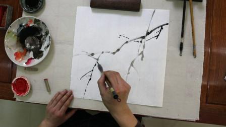 中国画荔枝画法,先画枝干后画叶子,层次分明