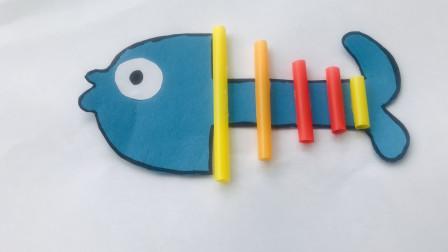 益智手工:一条非常有创意的粘贴画小鱼,操作很简单