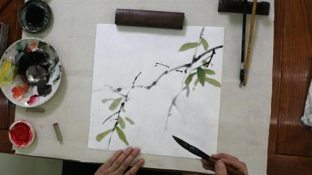 国画荔枝的画法,先画枝干后画叶,层次分明有意境