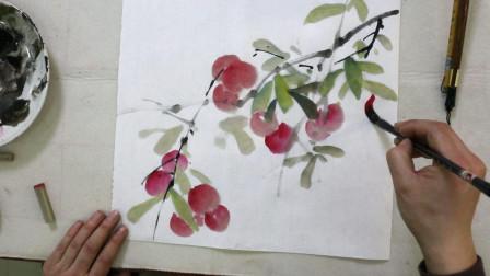 中国历史文化,水墨画荔枝画法,两笔画成,赏心悦目