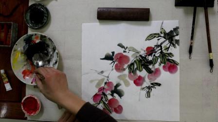 中国文化艺术,水墨荔枝绘画,层次分明有意境