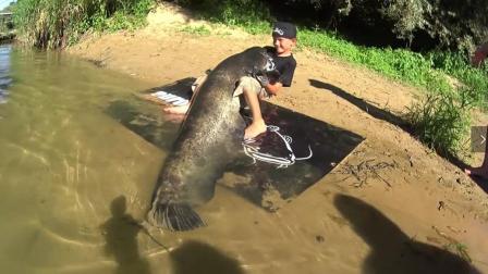 小学生野外钓鱼, 钓获一百多斤的大鲶鱼