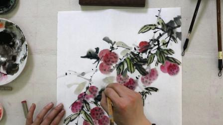 中国画,水墨荔枝画法及题款,浓淡墨点缀,层次分明有意境