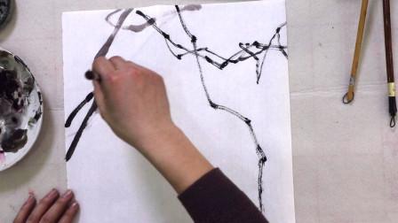 中国画,水墨葡萄画法,画藤有技巧,看完学习了