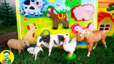 一起来玩木制拼图,里面有农场各种动物的名字和声音