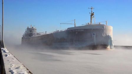 实拍令人敬畏的大船行驶,船身超大,难得一见